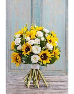 Bouquet of white roses and sunflowers | Orange flowers flowers
