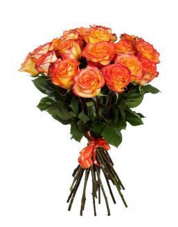 Bouquet of 15 orange roses | Roses flowers