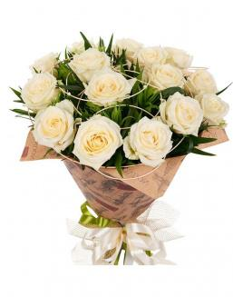 Bouquet of 15 cream roses | Flowers to father