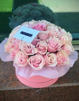 Original box with roses | Pink roses flowers