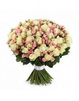 Mix bouquet of 25 white/pink spray roses | Flowers flowers