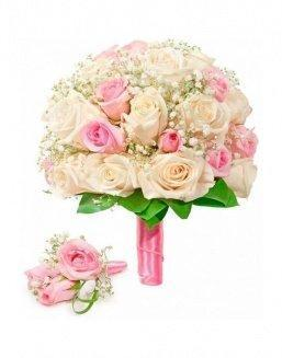 Bouquet of roses: cream and pink | Cream roses flowers