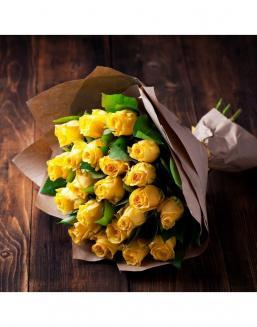 Bouquet of 21 yellow roses | Yellow flowers flowers