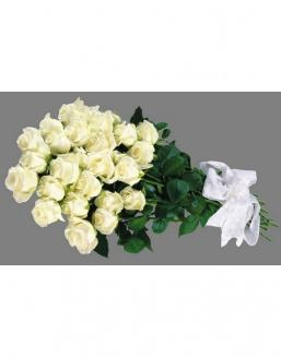 Bouquet of 25 white Dutch roses | White roses flowers