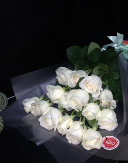 Bouquet of 15 white Dutch roses | Flowers for Birthday flowers