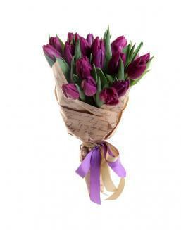 Bouquet of 25 purple tulips | Purple flowers