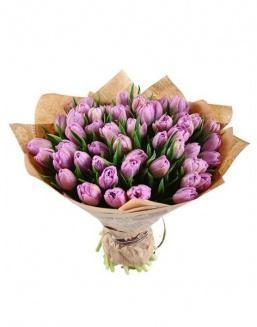 Bouquet of 51 violet tulips | Purple flowers