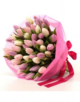 Bouquet of 51 pink tulips | Flowers flowers