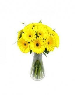 Bouquet of 25 yellow gerberas | Yellow flowers flowers