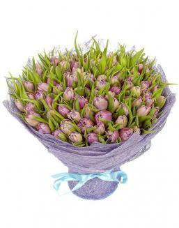 Bouquet 101 violet tulips | Purple flowers