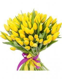 Bouquet 101 yellow tulips | 101 flowers flowers