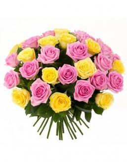 Bouquet mix of 33 pink and yellow roses | Flowers flowers
