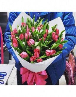 Bouquet of 35 pink tulips | Flowers for Birthday flowers