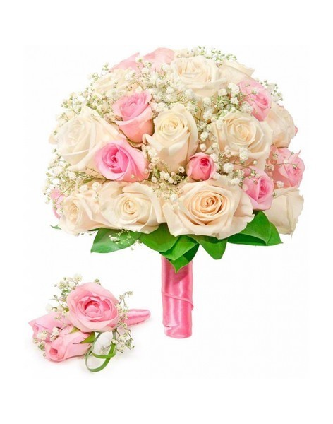 Bouquet of roses: cream and pink